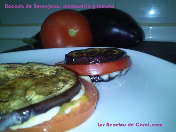 Bocados de Berenjena, Mozzarella y Tomates