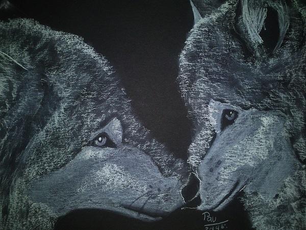 Pintura de lobos a pastel