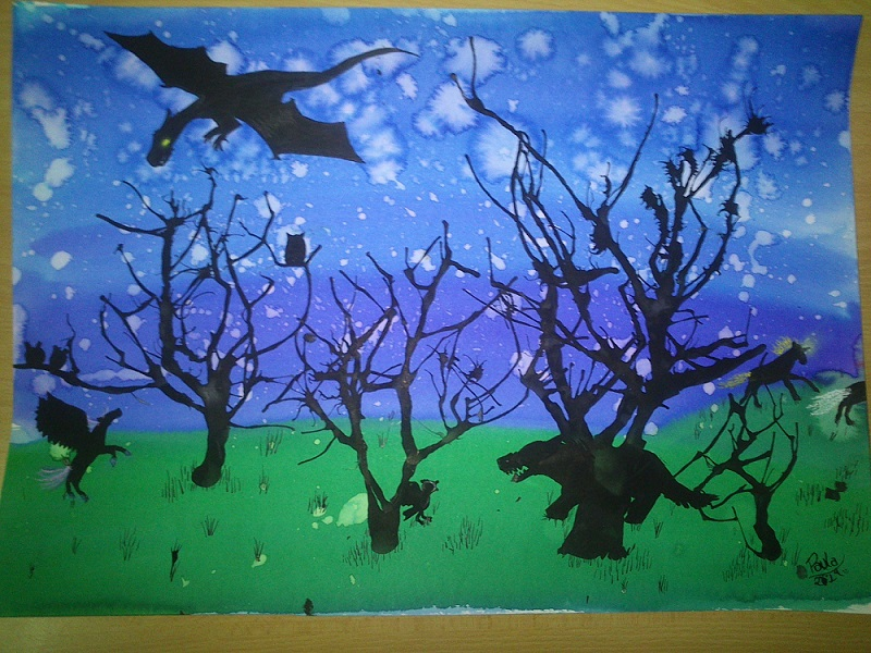 Pintura Bosque nocturno a Acuarela y Tinta China - Abril 2014