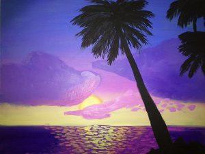 Pintura Paisaje amanecer  a Oleo - Mayo 2014