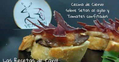 Montadito de Cecina, Setas al ajillo y tomates confitados