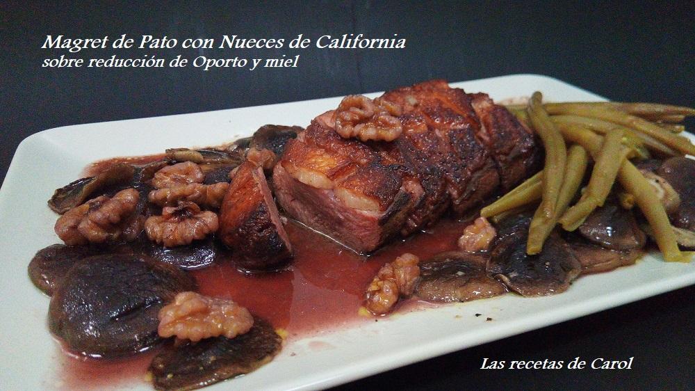 Magret de pato con Nueces de california